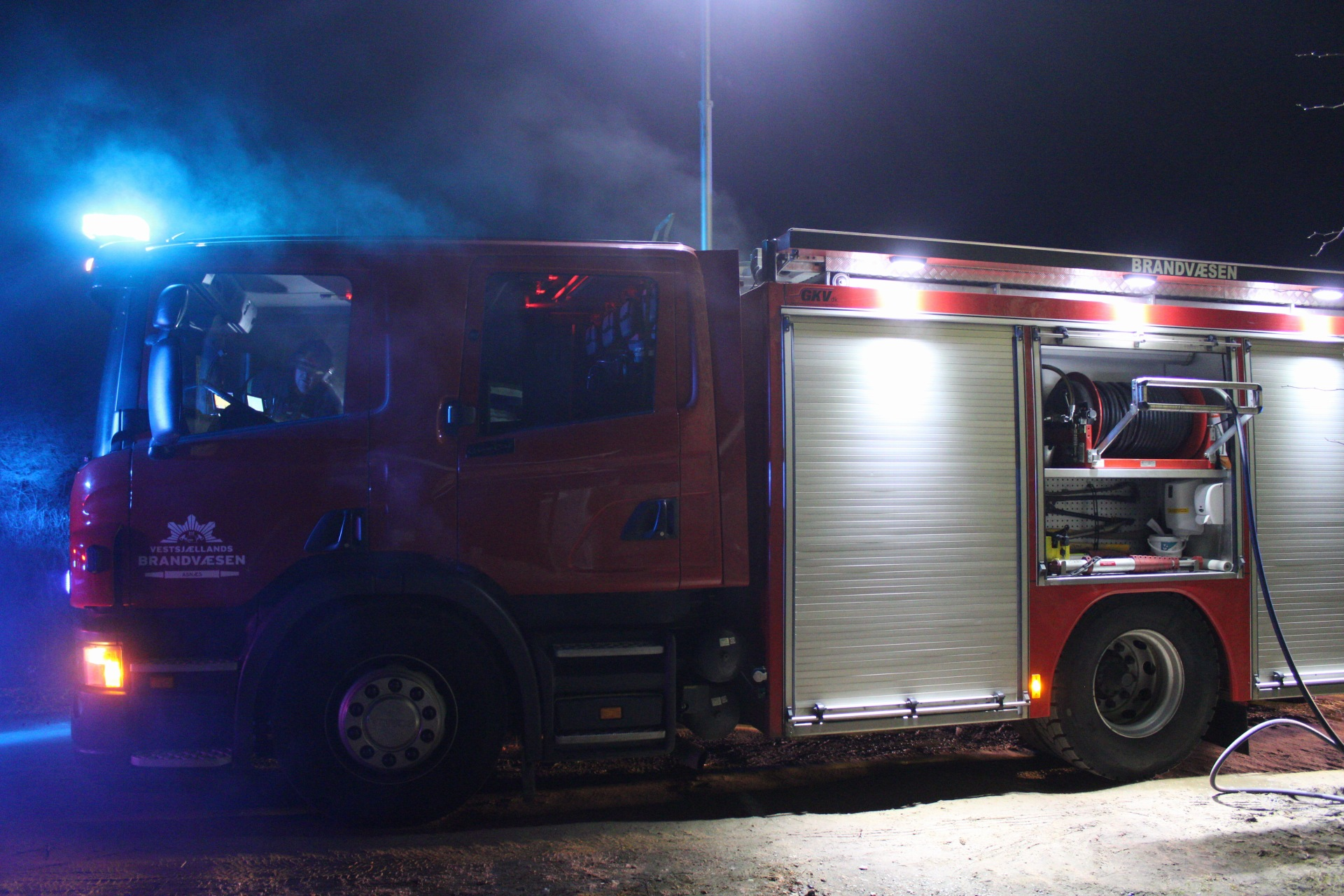 Røg fra brandbil