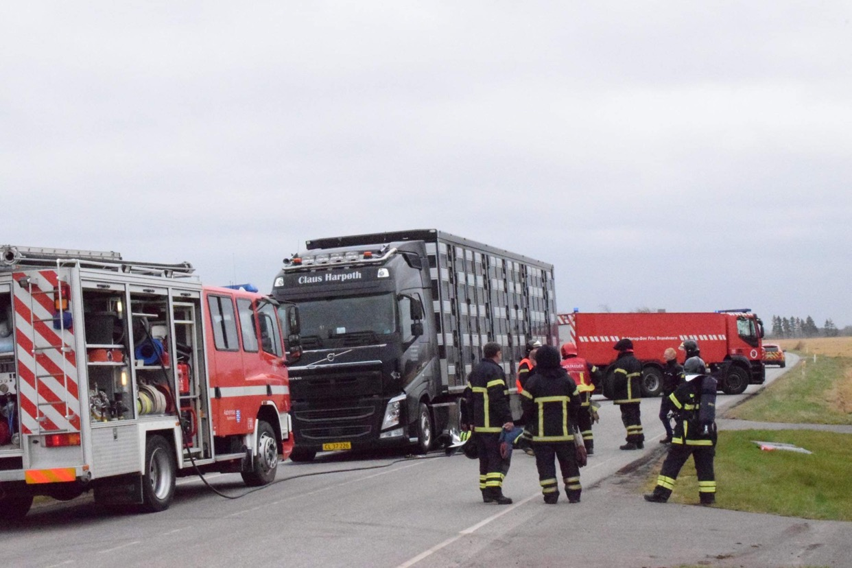 Brand i svinetransporter  ved Bredvad