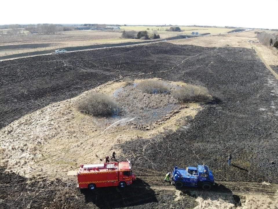 Markbrand i Ballerup - dronefotos