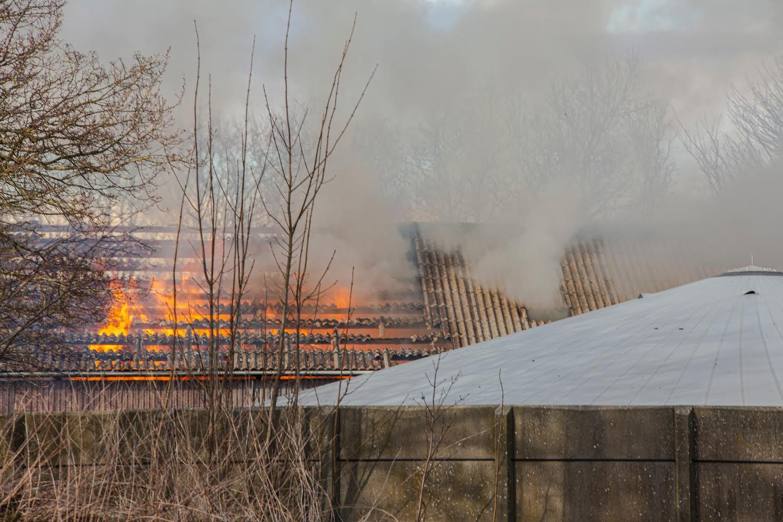 Voldsom gårdbrand - brandvæsnet massivt til stede