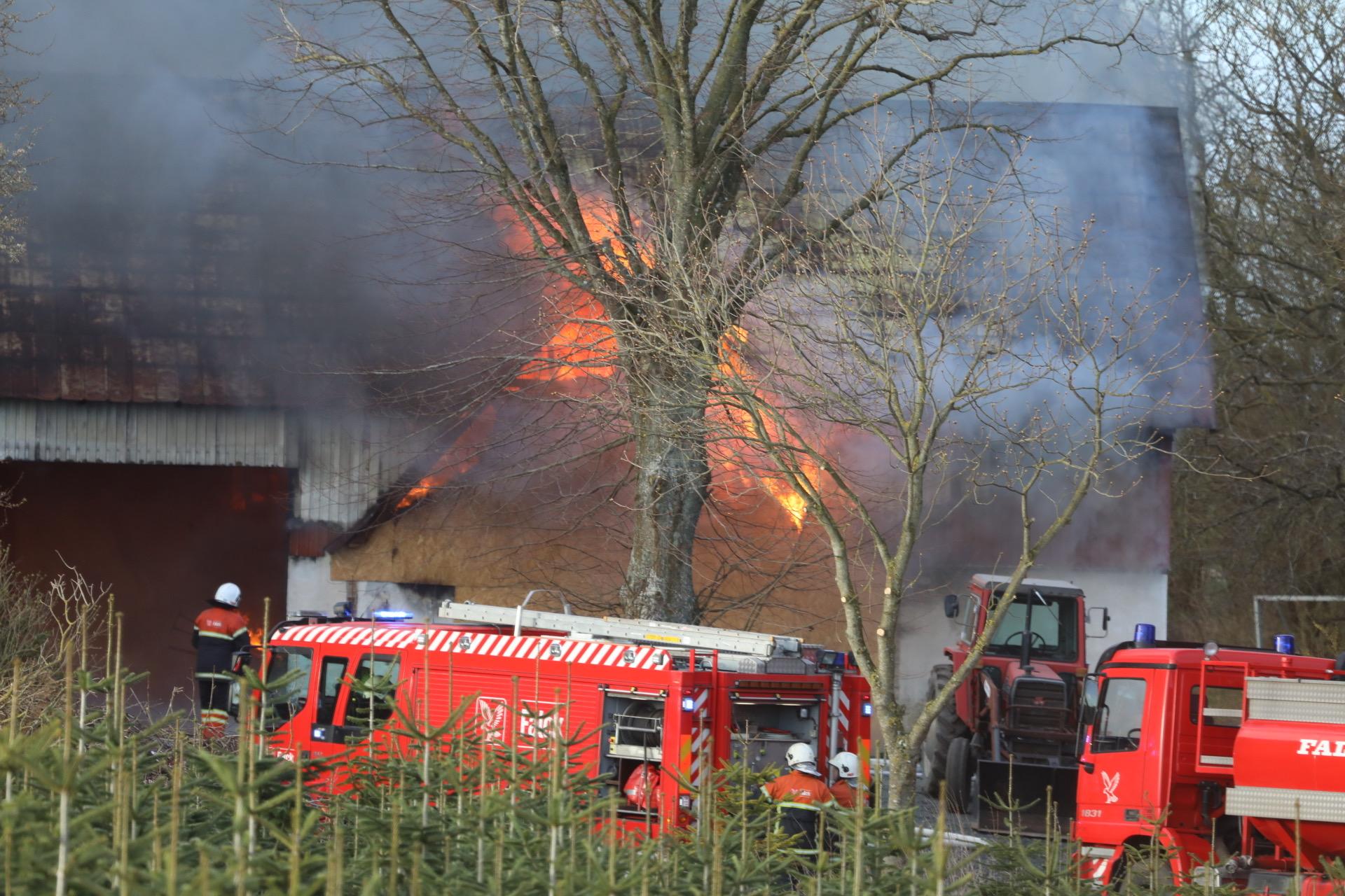 Brand på gård ved Rudkøbing Langeland