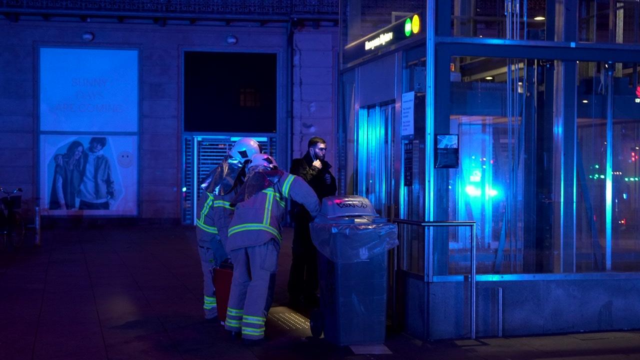 Brandalarm på metrostation