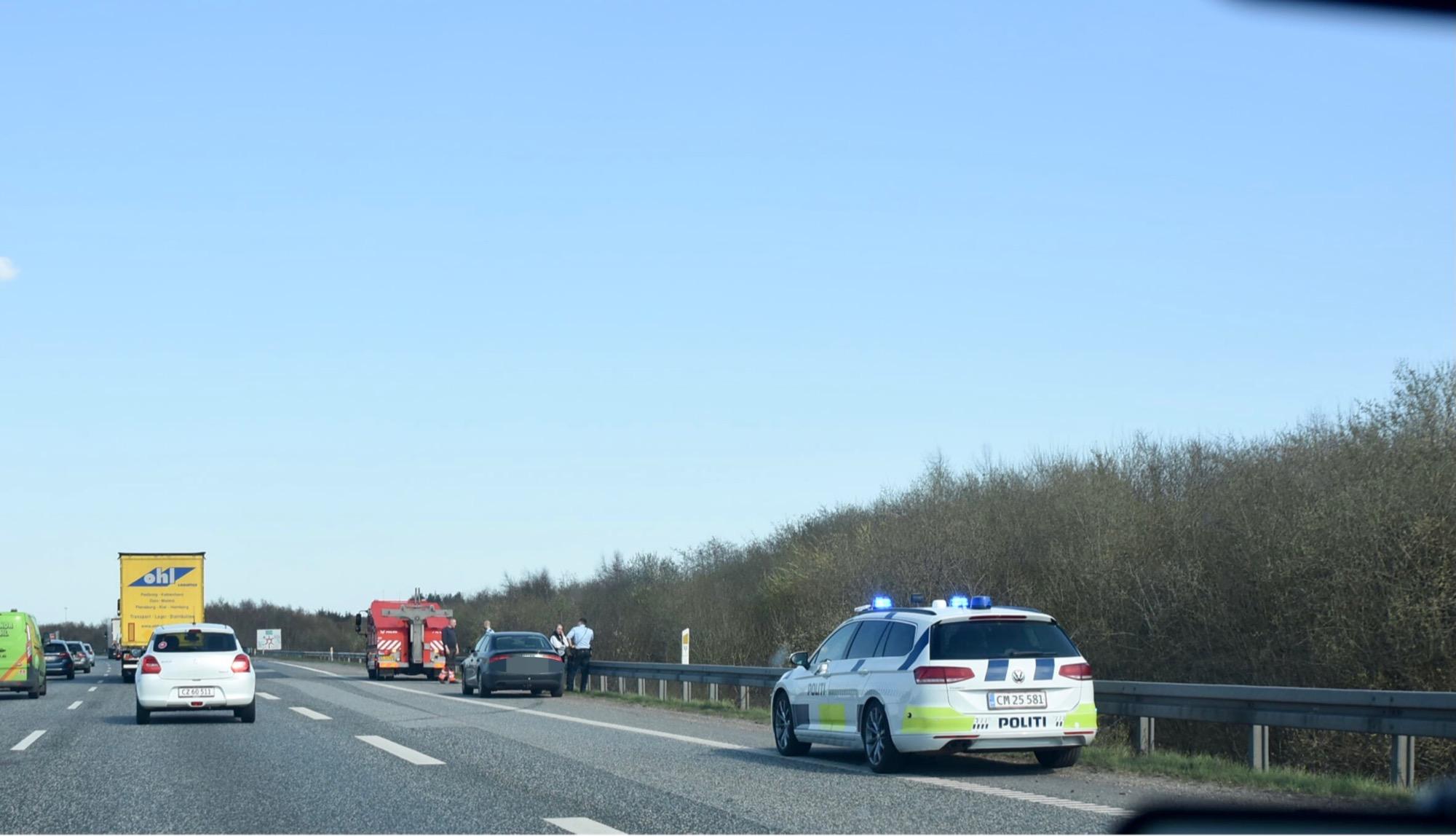Færdselsuheld på motorvej E45 fra Kolding V mod Kolding N