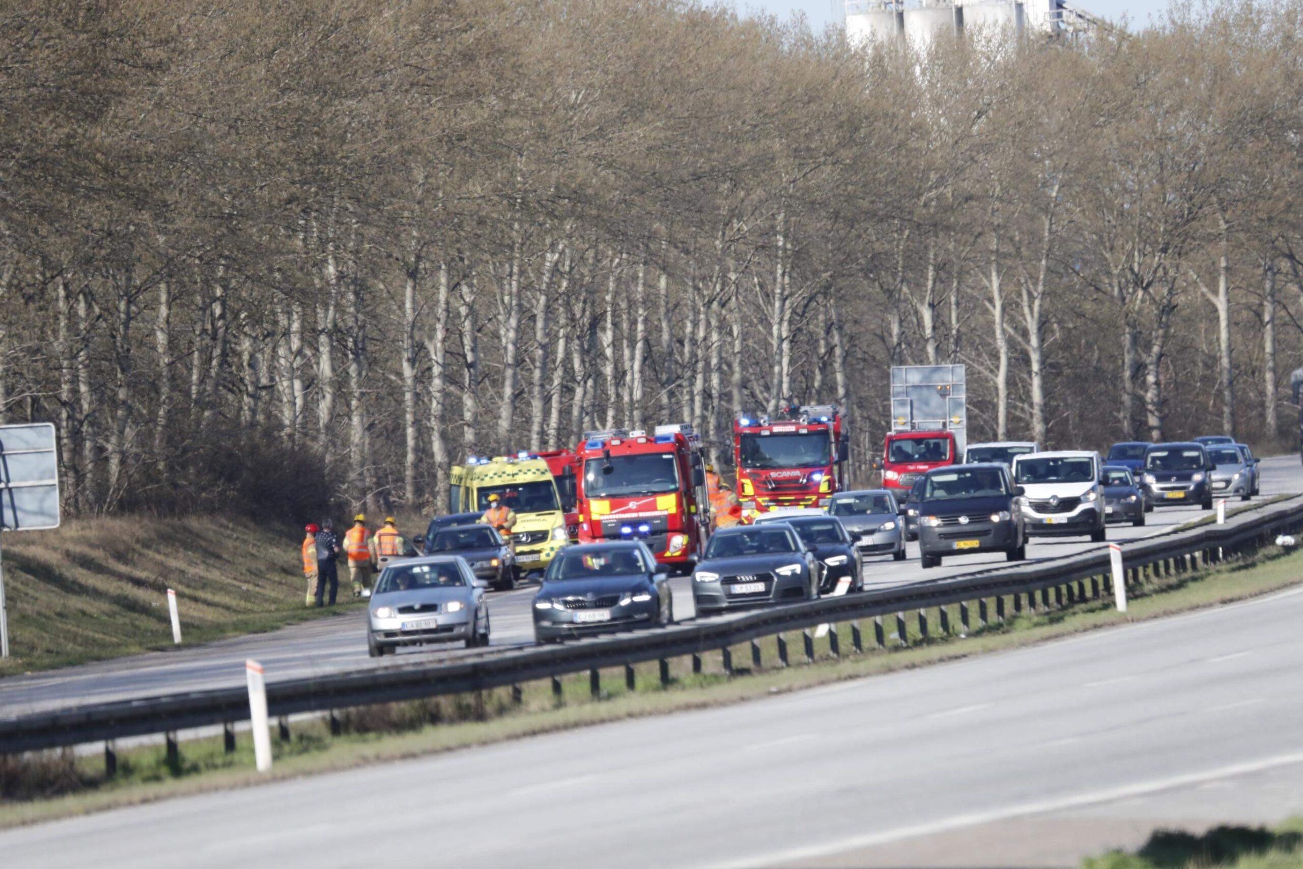 Færdselsuheld på Amager motorvejen ved Hvidovre