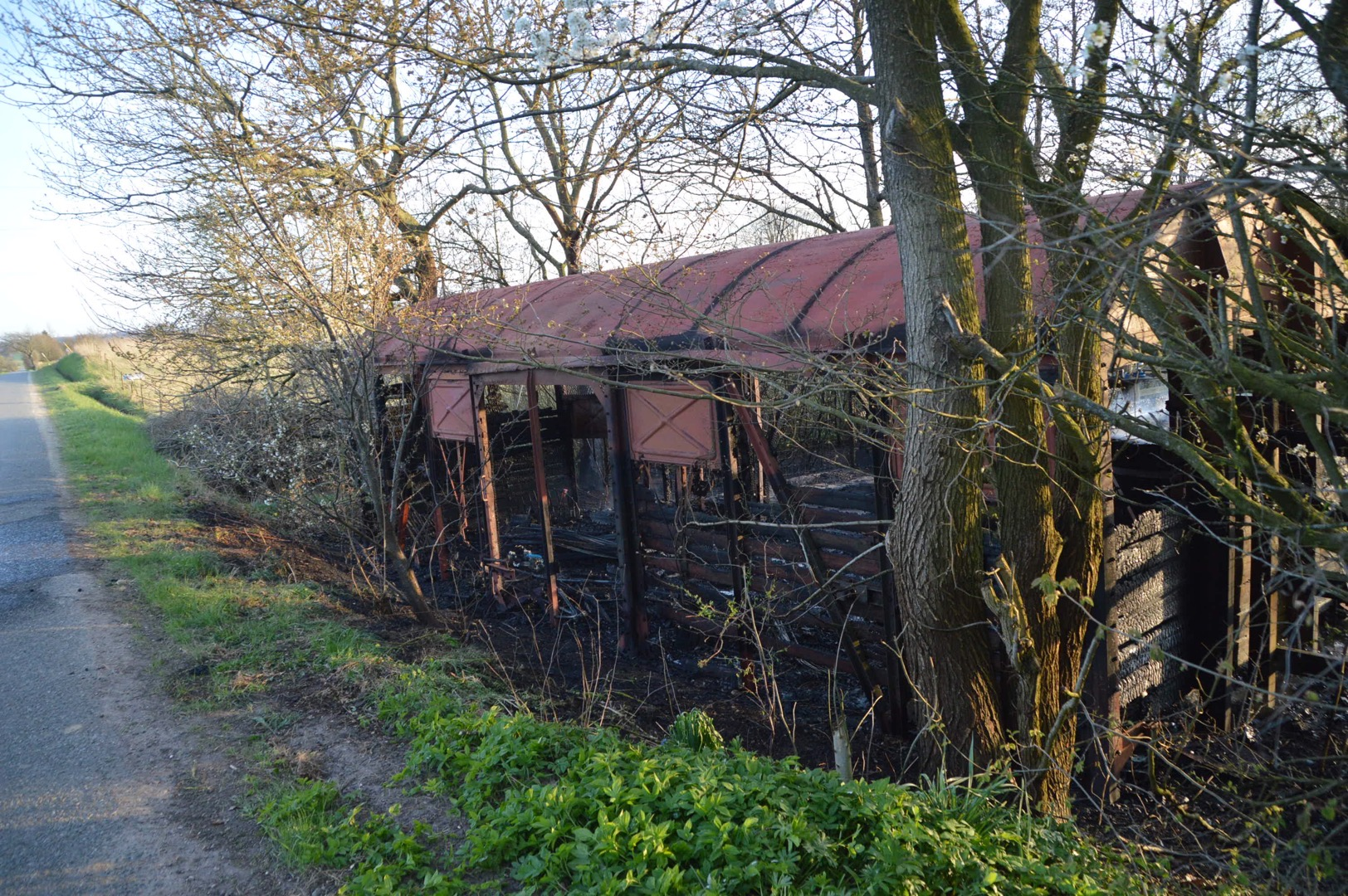 Brand i skurvogn i Holtum ved Vejle