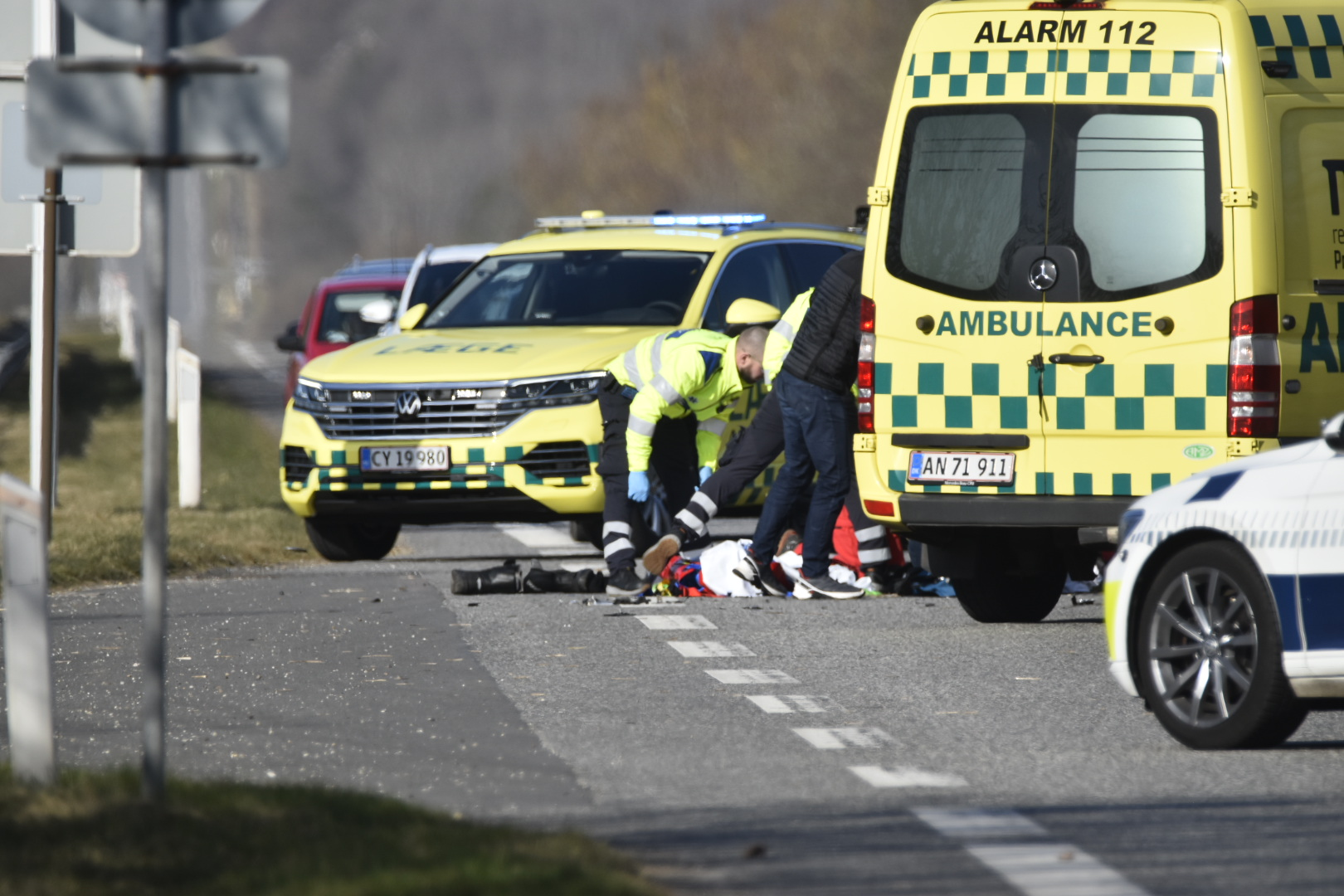 Voldsomt færdselsuheld i Ørnhøj