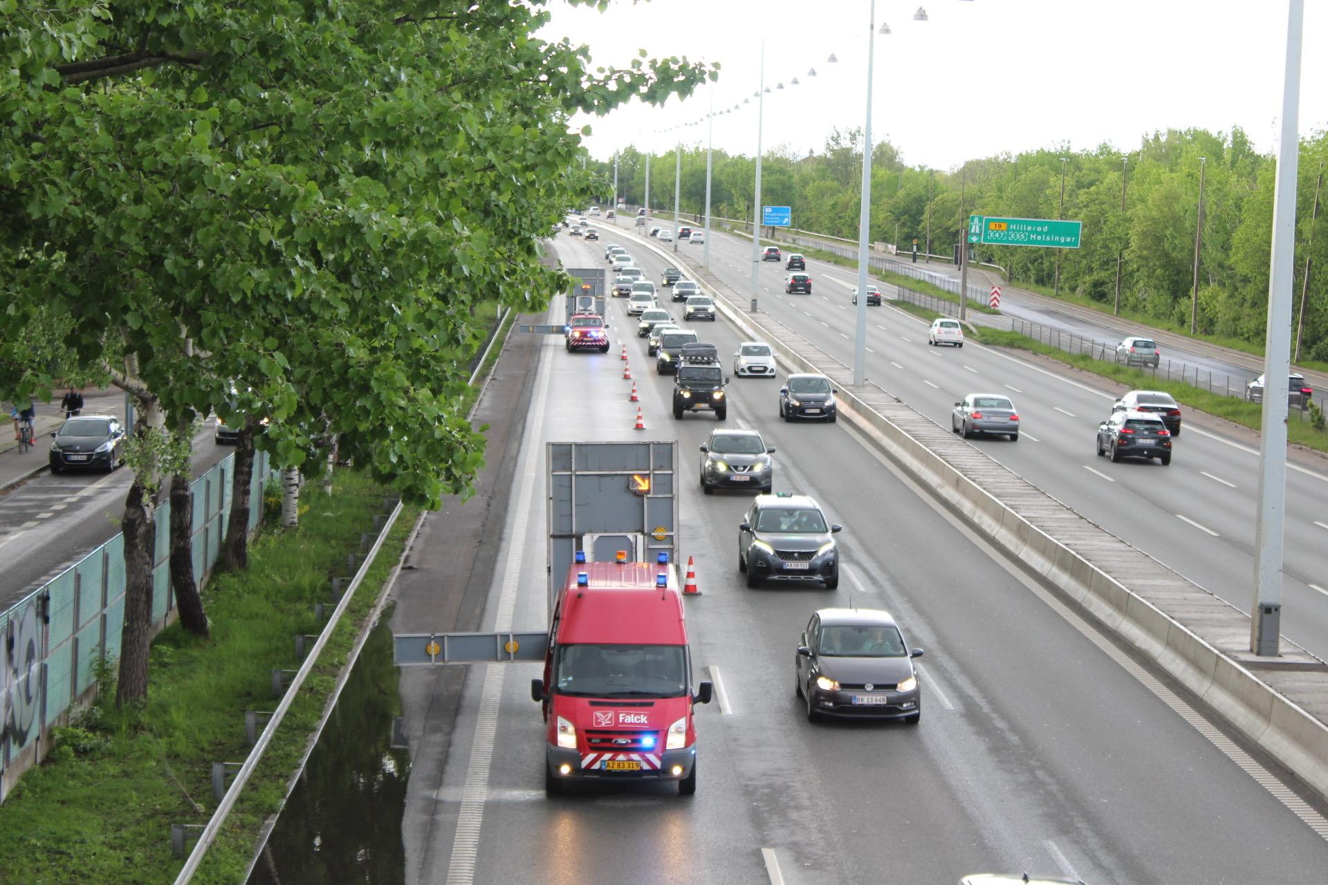 Større mængder vand på motorvej