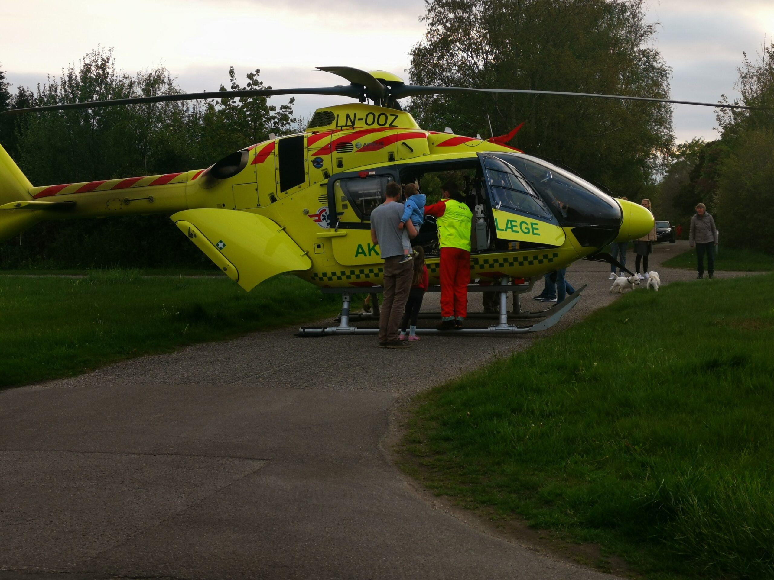 Læge helikopter landet i Gilleleje
