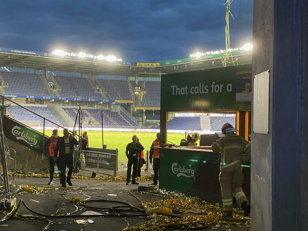 Brand på Brøndby stadion mandag aften