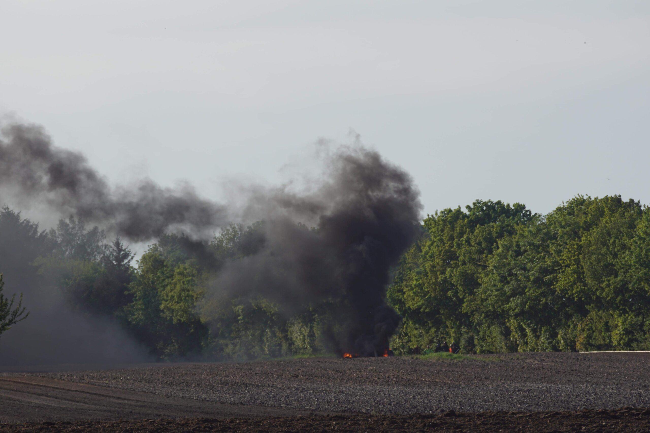 Traktor brudt i brand ved Aabenraa