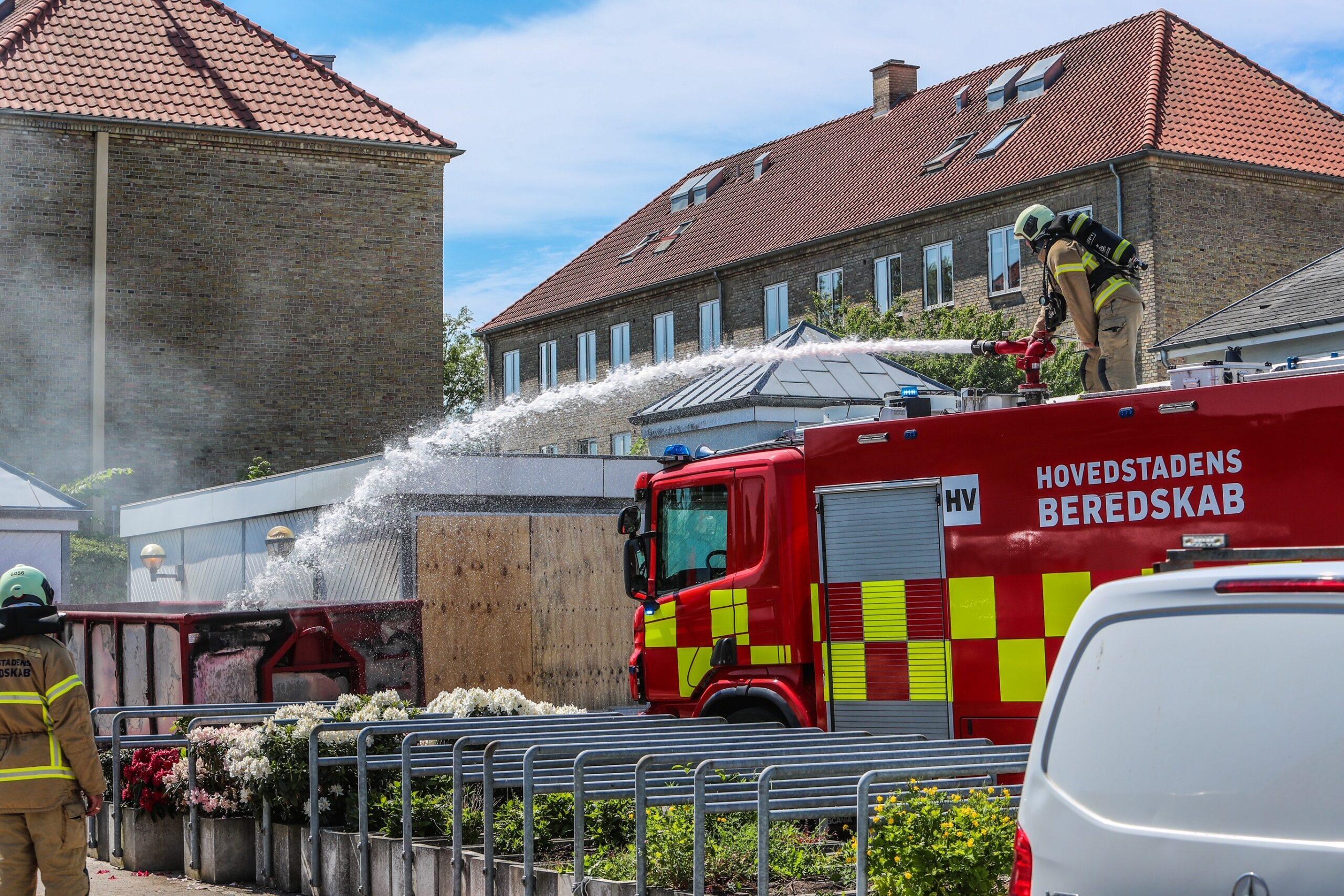 Container i brand i Hvidovre