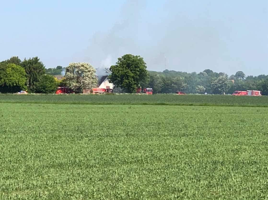 Gårdbrand i Aakirkeby på Bornholm