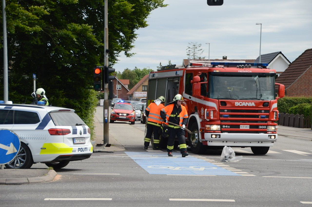 Uheld spærrer vej i Fredericia