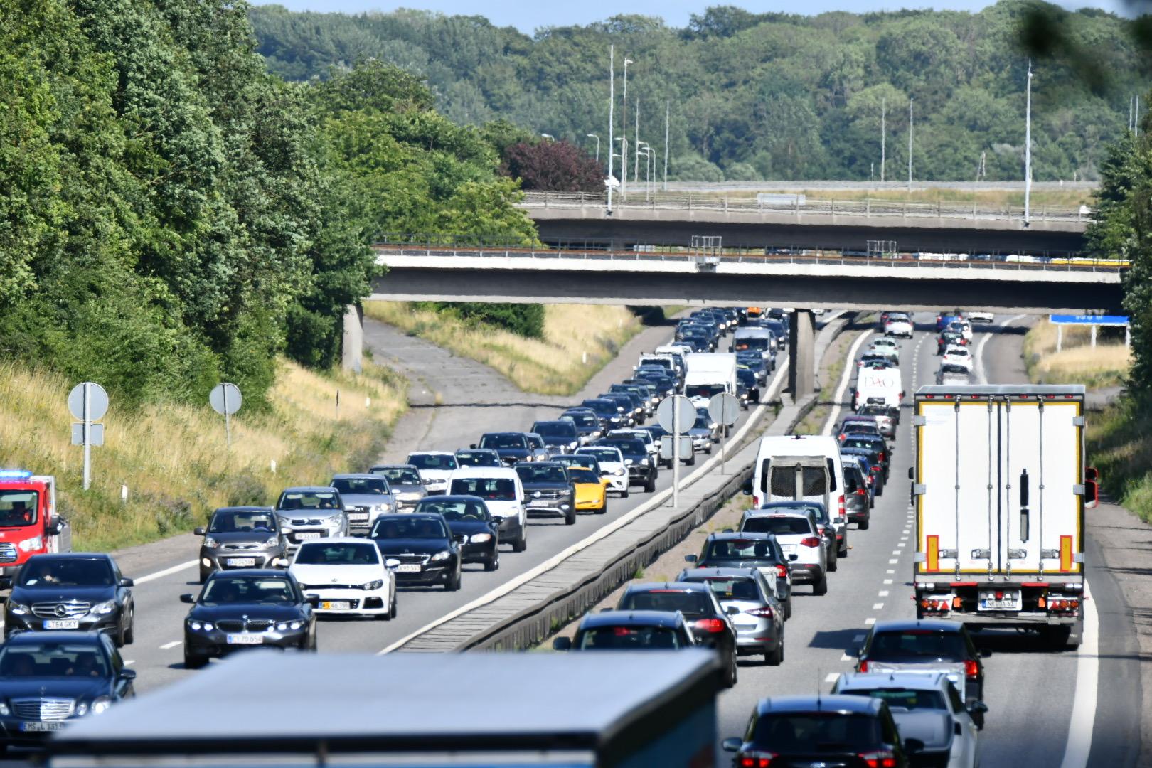 Færdselsuheld på fynske motorvej - skaber større kø