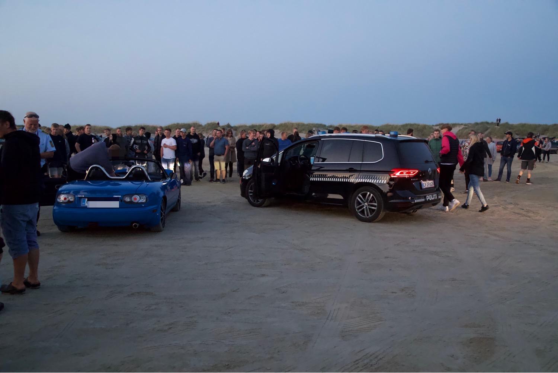 Bøderegn til biltræf - drifting på strand