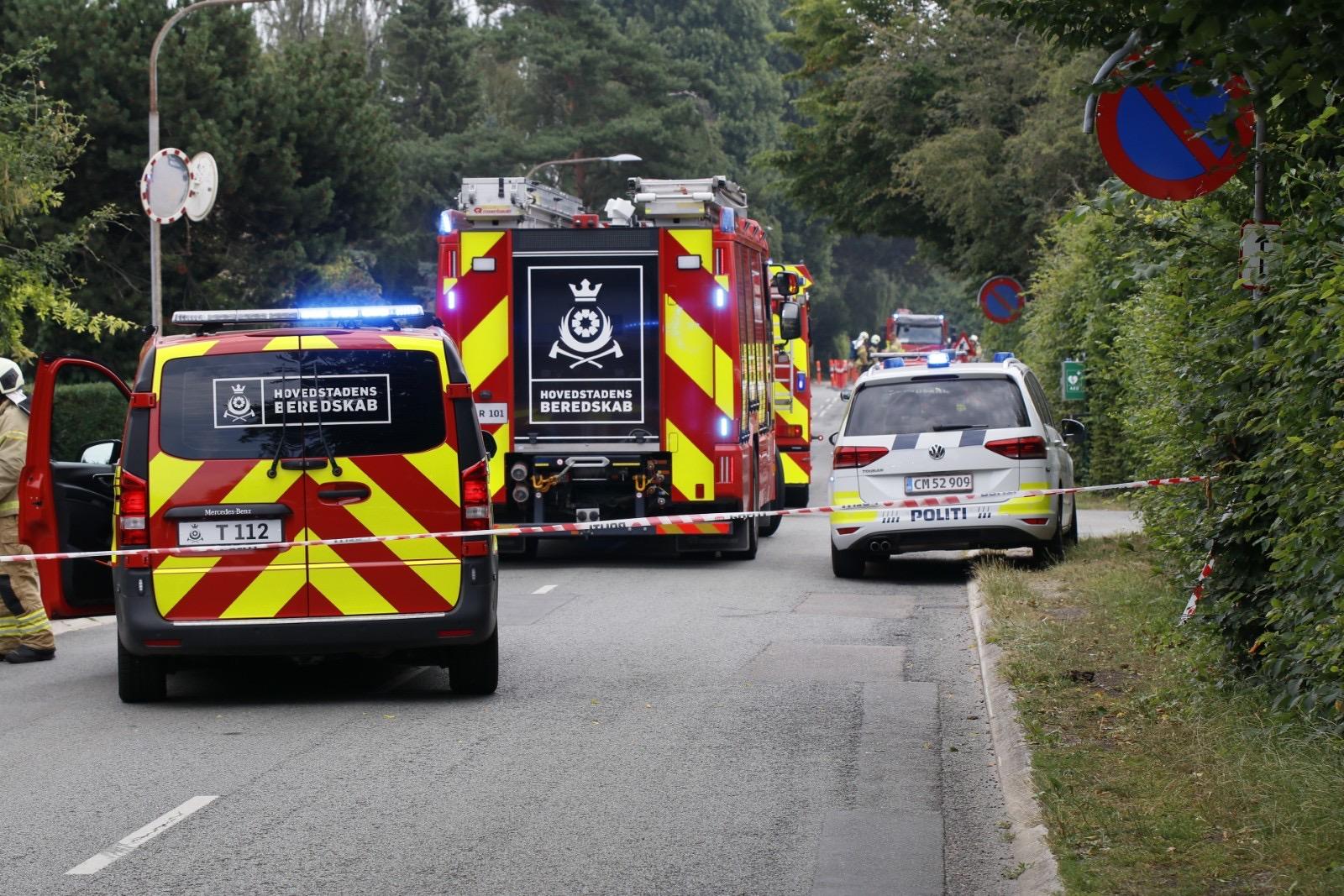 Brandvæsen og politi talstærkt til stede - overgravet gasledning