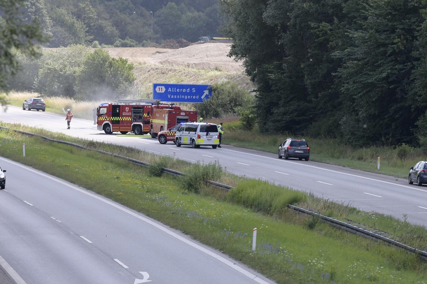 Brand i bil på Hillerødmotorvejen