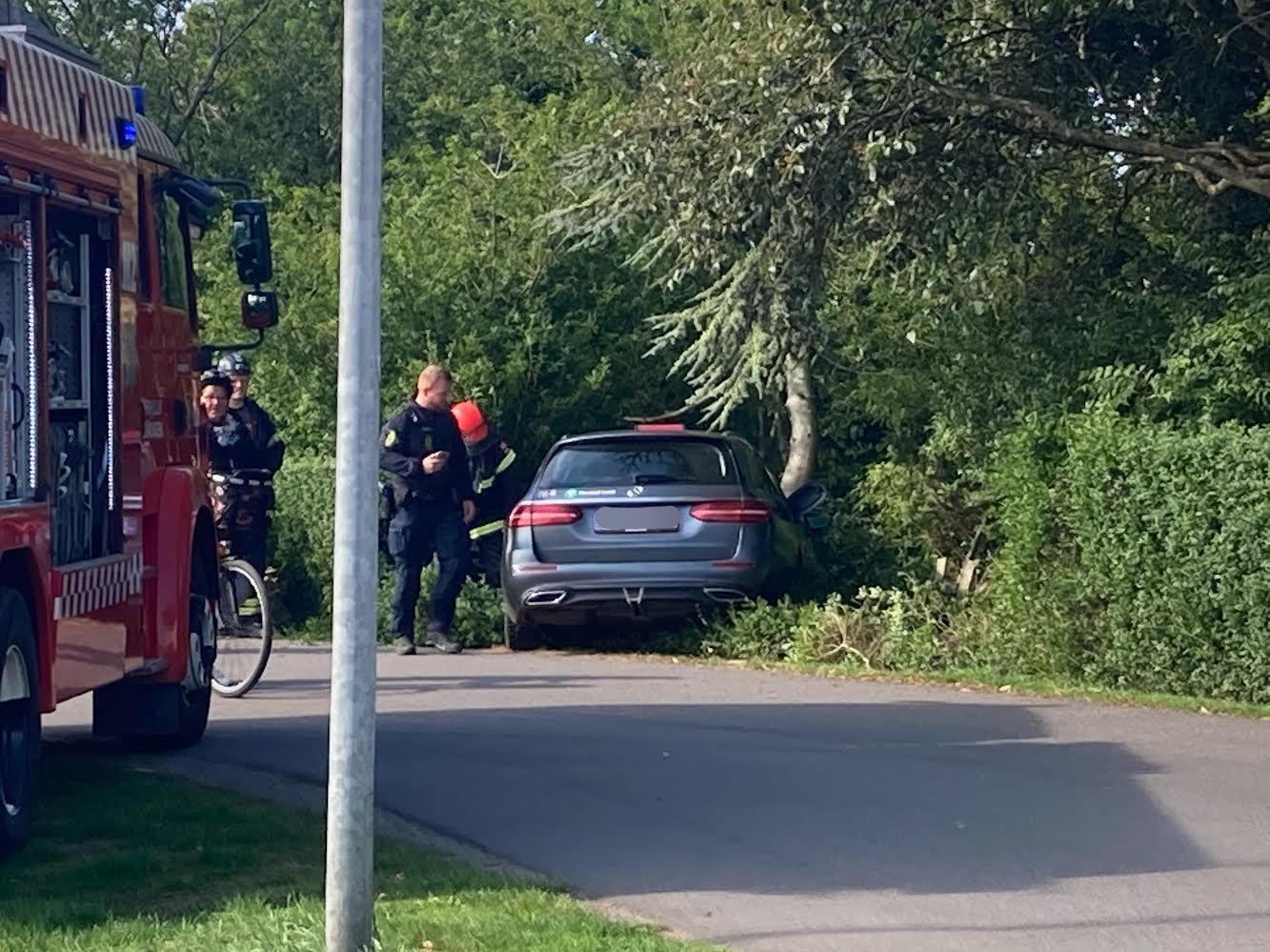 Taxa har påkørt træ i Nexø