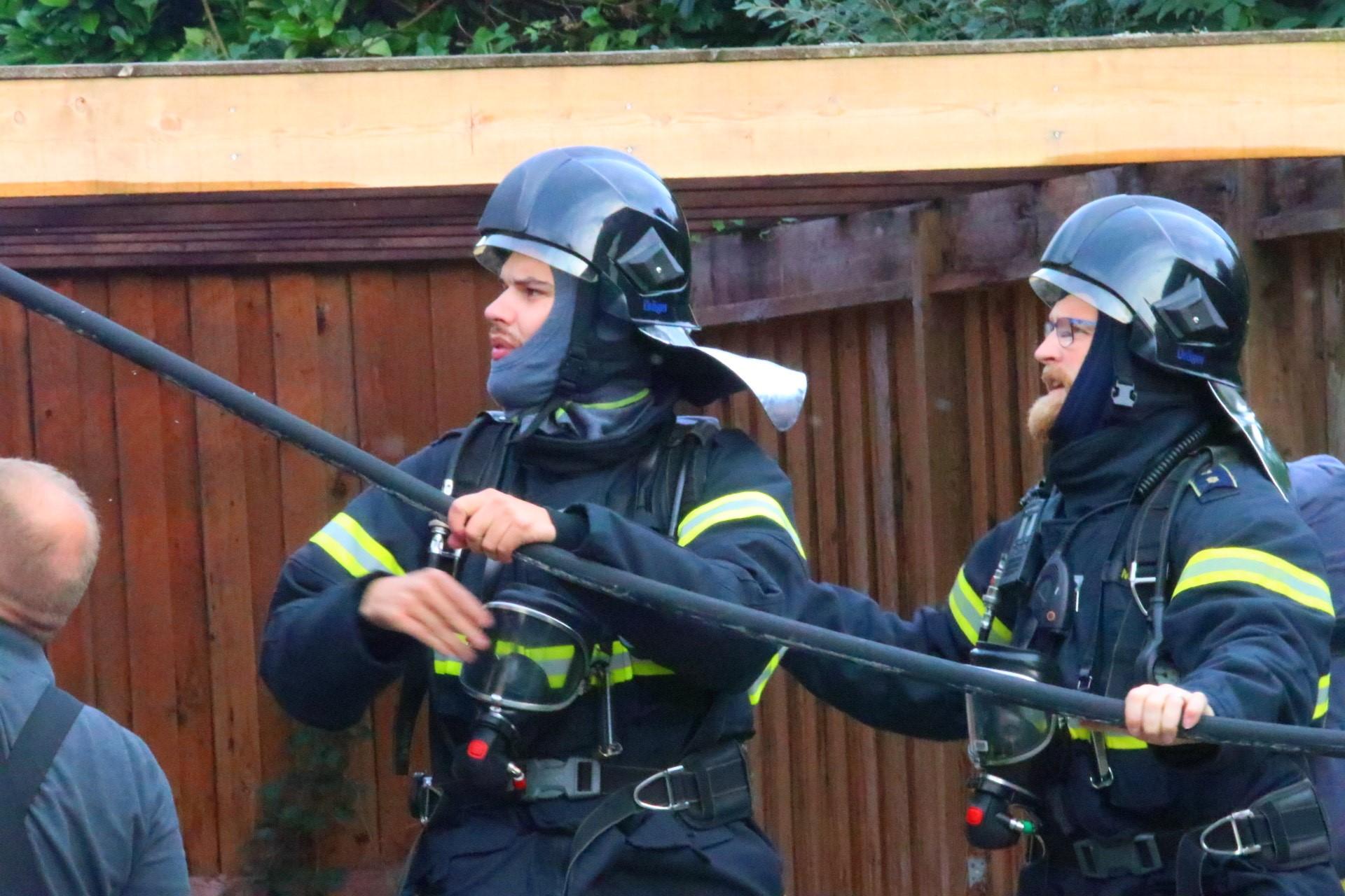 Brand i køkken i Kruså - brandvæsenet på stedet