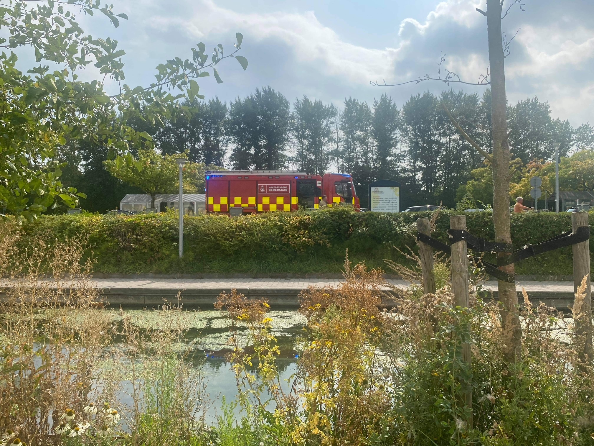 Hund faldt i kanalen - brandvæsenet med udrykning kom til undsætning